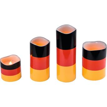 LED Wachskerzen Deutschland 4er Set WM Nationalflagge