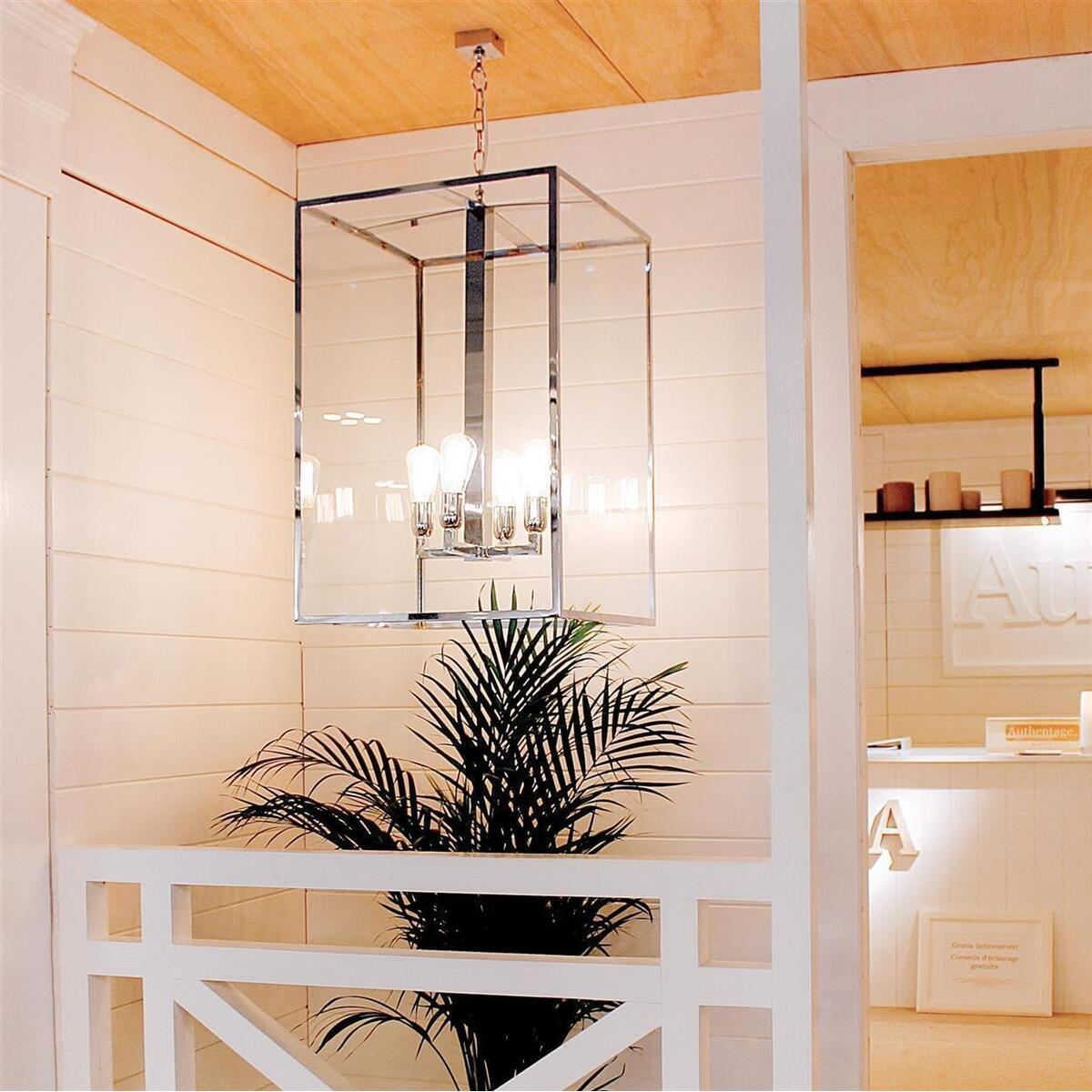 vitrine lantern 4l pendelleuchte 4 flammig chrom 50x50x75 cm. Black Bedroom Furniture Sets. Home Design Ideas