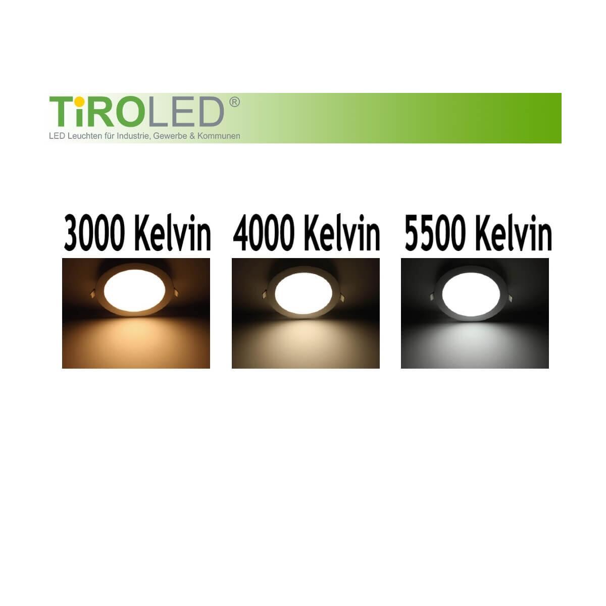 tiroled led panel 10w 180mm 3000 4000 5500 kelvin einstellbar rund we. Black Bedroom Furniture Sets. Home Design Ideas