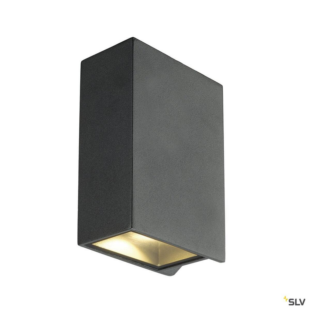 quad 2 xl wandleuchte eckig anthrazit led 2x3 2w 3000k up down slv 232445 79. Black Bedroom Furniture Sets. Home Design Ideas