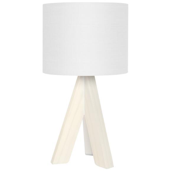 Wonderful Ging Tischleuchte Holzfuß Weiß Textilschirm Weiß 31,5cm Höhe E14 Amazing Ideas