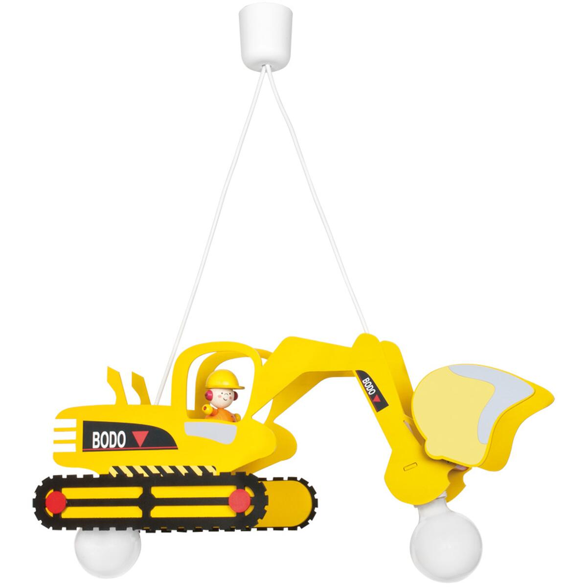 bagger bodo pendelleuchte gelb 2xe27 kinderleuchte 74 99. Black Bedroom Furniture Sets. Home Design Ideas