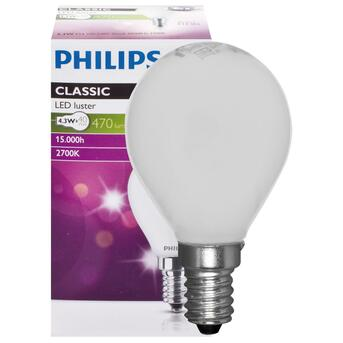 LED-Tropfenlampe E14 4,3W 470 Lumen 2700K warmweiß Phillips