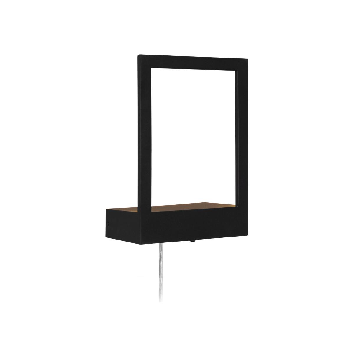 led wandleuchte pablo mit dekofl che in schwarz mit stecker und. Black Bedroom Furniture Sets. Home Design Ideas